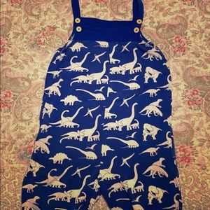 Mini Boden girls dino print overalls